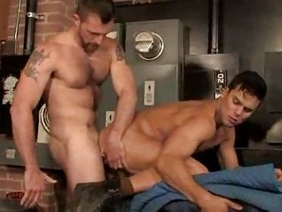 Curly Muscle Males Quickie Anal Fucking Session