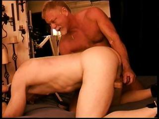 2 muscled papa bears castigation a wang by jerking it from behind