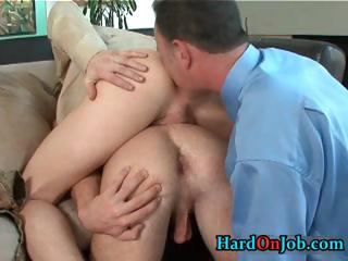 Horny homosexual 3some ass fucking