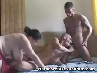 Compilation of trio ambisextrous act with corpulent brunettes and ebon brunettes
