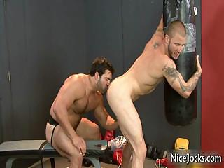 Hawt dick receives assfucked at gym by nicejocks
