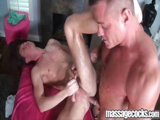 Gay fellow receives an oily massage then screwed in his slippery arse
