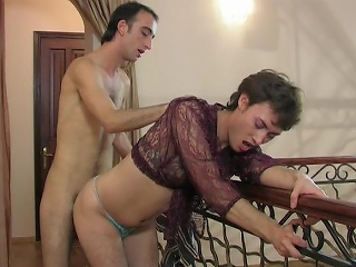 Lewd sissy in a see-through blouse swallowing a hard rod and ass...