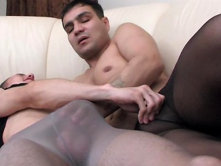 Muscle homosexual guy in control top pantyhose getting anally exploited on...