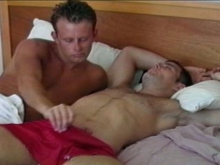 Lustful homo hunk wakes up large dick with astounding blowjob