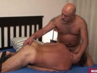 Unshaved dad group-fucked