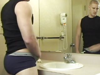 He went there to wash his face but when Ryan took a better look at himself this chab started to be horny. He took of his panties and touched his hot abs before jerking. What a nasty boy u are Ryan, surely u merit a unfathomable and hard fuck in that hot ass. Let's watch what happens with him and if this chab will cum for us