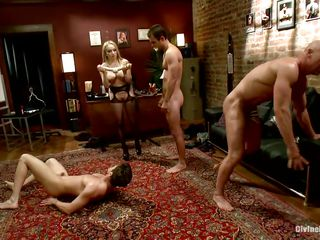 Divine doxies Aiden and Madelin are having a great time making their chaps fuck every other. At their strict orders one of the guys kneels and gives some other one head and then they kneel like tractable sluts. Aiden and her ally prepares a double ended sex tool and put 'em to fuck ass to ass.