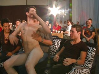 A multitude of homosexual people are in a room, homosexual white chap is entering the scene and starts to disrobe in front of his audience, then he's having his 10-Pounder sucked by each of those men. How will this sausage party end?