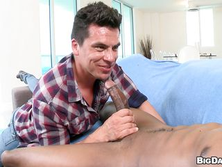 Black homo stud is toying the white stud with his darksome large dick. Being teased by this large monster cock, this white stud was pretty overwhelmed. However, he started to suck that cock. When the time came, the white knob sucker bent down and the muscled darksome stud screwed his ass!