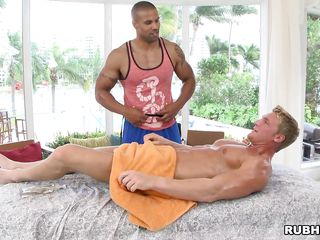 Oiled man is given a massage that will transform into a prostate exam. The darksome man gives him a handjob, then starts sucking his dick. Will this chab have a glad ending? In what poses will they get fucked?