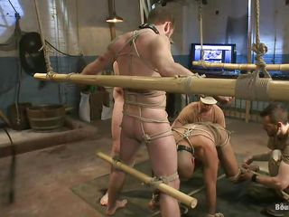 Sexy gay sex slaves are fastened up and are willing to get fucked. Leo, one of the slaves, licks and sucks unfathomable his master`s foot and acquires prepared for some real hard knob sucking. Her slavemaster keeps Leo`s head on his penis because is so turned on by Leo`s oral technique. Stay with us if u wanna watch more punishments!