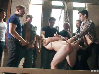 Cute stud is fastened and he's about to receive screwed real hard. He's hanging there and the chaps are fucking he's throat and sexy butt with their hard cocks. This pretty guy is getting gang banged all right and we think that guy enjoys it a lot! See his sexy body getting screwed and humiliated, do you have a fun it?