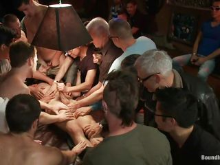 The studs gathered around this stud and blindfolded him, cut his clothes with a couple of scissor and now they desire to make their ways with him. All these hands are keeping him down and his dick is being sucked and rubbed, his sexy thighs are spread and his nipps pinched. Looks like he's about to have a hardcore fuck
