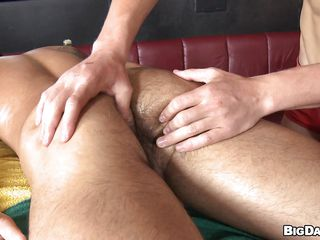 Hot boy James was laying down exposed enjoying an oily massage from his boyfriend. Seeing that gorgeous wazoo and pumped up body of James the guy started to be concupiscent and when James turned on his back the sight of his hard penis was the final drop! The concupiscent masseur began engulfing his penis with lust wishing for his cum!