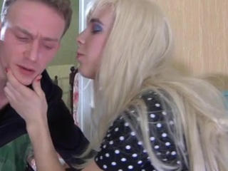 Cross-dressed stud wears a blond wig during the time that getting to sizzling homo fucking