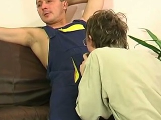 Gay plumber uses his beefy pipe to fill a str8 guy's mouth and firm booty