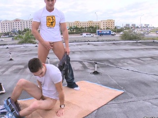 Breathtaking guys masturbating their schlongs on the roof, take a look