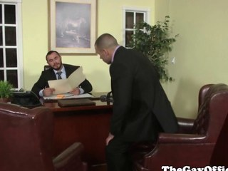 Uniformed homo office hunk pounding arse